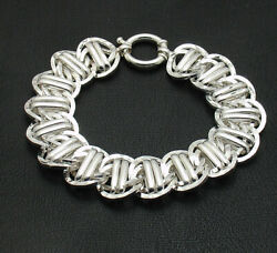 Bold Hammered Railroad Style Curb Cuban Link Bracelet Real Sterling Silver Qvc
