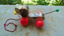 Old Fisher Price Little Snoopy Wood Wooden Pull Play Toy Childs Vintage Kids Dog
