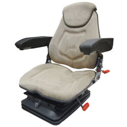 Air Ride Tractor Seat Assembly Head Rest Armrests Lumbar Brown Fabric Faa1220