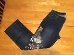 DISNEY STORE Minnie Mouse Painted design Blue JEANS 5 pocket Ladies size 10