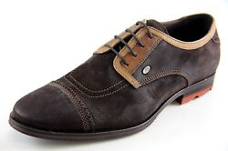 Bacco Bucci Men's Oxfords Brown Made In Italy Leather Dress Shoes Style2257-46