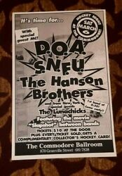 D.o.a. S.n.f.u. Hanson Brothers Lunachicks Concert Poster Vancouver March 6, '93
