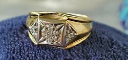 Mens 10k Yellow Gold Diamond Cluster Ring Big And Bold Not Scrap