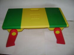 Lego 1994 Vintage Lap Tray Table Building And Storage Bins W/ Fold Up Legs Plates