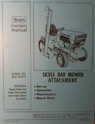 Sears Sickle Mower Implement Garden Tractor Owner And Parts Manual 842.26002 Haban