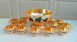14 Piece Anchor Hocking Peach Luster Punch Bowl Set
