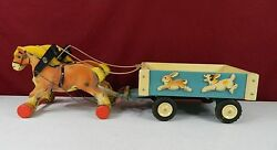 Gecevo Germany Wooden Vintage Pair Horse And Wagon Ges. Geschutzt