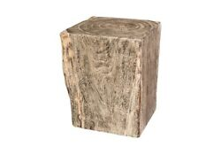 24 T Greystone Pedestal Side Table Solid Acacia Wood One Of A Kind Modern