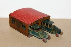 Vintage 1920's Kellerman Tin Penny Toy Garage W/ Two Cko Limo's Made In Germany