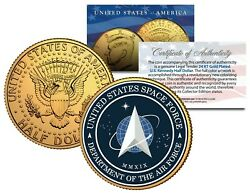 United States Space Force Ussf Military 24k Gold Plated Jfk Half Dollar Us Coin