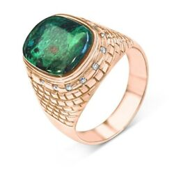 14k Rose Gold And Diamond Western Wall Blue Green Eilat Stone Ring