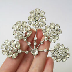 Large Vintage Weiss Clear Rhinestone Brooch Pin Marked Costume Jewelry