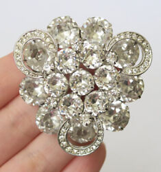 Vintage Weiss Clear Rhinestone Crescents Brooch Pin Marked Costume Jewelry