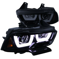 For 11-14 Dodge Charger Glossy Black Led Drl Dual Halo Projector Headlights