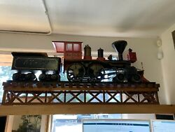 Large 62 Ooak Handmade Thick Wood And Brass Iron Horse Train