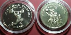 Liberia - 1984 C/n 10 Dollars - Weightlifting And Basketball - 2 Piece Lot - Proof