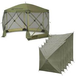 Clam Quick Set Escape Portable Camping Outdoor Canopy Screen with 6 Wind Panels