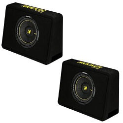Kicker 10 Inch 600 Watt 4 Ohm Vented Thin Profile Subwoofer Enclosures 2 Pack