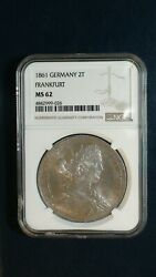 1861 Germany Two Taler Ngc Ms62 Frankfurt Unc Silver 2t Coin Buy It Now