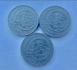 Mexican 20 Peso 19801982 And 1984 Large Coin Set Aztec In Headdress Cultura Maya
