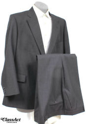 Palm Beach for Karoll#x27;s Charcoal Striped 2 Btn 2 Pc Suit 50R Flat Fronts 52quot; W $45.00