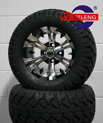 Golf Cart 12 Machined/black Vampire Wheels/rims And 22 Stinger Dot A/t Tires