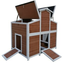 Deluxe Large Wood Chicken Coop Backyard Hen House with 4 Nesting Box Run