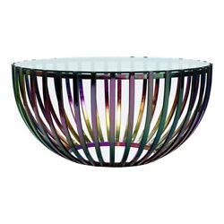 36 W Coffee Table Round Tempered Glass Top Iridescent Stainless Steel Cage Base