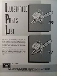 Mcculloch Model 49 And 77 Chain Saw Parts Manual Chainsaw Gasoline Engine 2-cycle