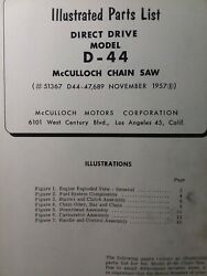 Mcculloch D-44 Chain Saw Parts Manual Chainsaw Gasoline Engine 2-cycle 1957