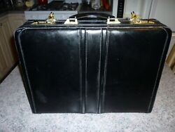 Black Leather Heritage Briefcase Office Travel Work