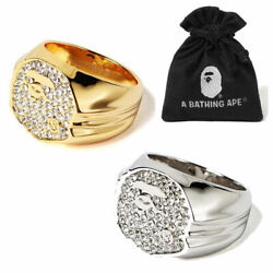 Us8-10.5 A Bathing Ape Goods Menand039s Rhinestone Ape Head Ring 2colors New
