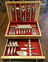 80 Piece Holmes And Edwards Woodsong 1958-1959 Inlaid Silverplate With Chest