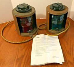 Set Of 2 Vintage Bronze Perko Marine Navigation Lights-port And Starboard