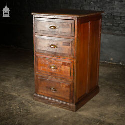 Industrial Pine Topped Mahogany Chest Of Drawers With Brass Cup Handles
