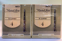 2 Rico Mitchell Lurie 10-pack Bb Clarinet Reeds- Strength 4.0. New, Sealed.