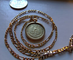 Gilded 1937 Mexico 20c Silver Pendant On A 24 18k Gold Filled 4mm Figaro Chain.