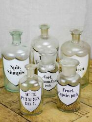 Collection Of Six 19th Century Pharmacy Jars - Labelled With Lids