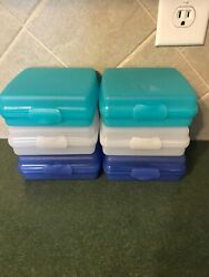 6 Tupperware Square Sandwich Keeper Lot Container Boxes Hinged White Blue Teal