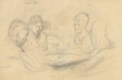Frank Griffith 1889 -1979 Graphite Drawing Friends At The Table