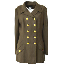 96a 42 Cc Button Double Breasted Long Sleeve Jacket Brown 03851