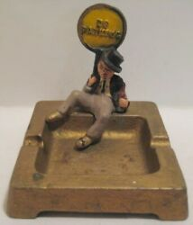 Old Odd Cast Iron Wilton Ashtray W/drunk Holding No Parking Sign Wrightsville Pa