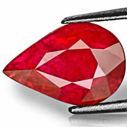 Aigs Certified Mozambique Ruby 2.30 Cts Natural Untreated Blood Red Pear