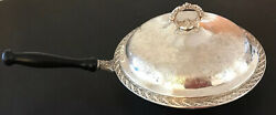 """Xl 10.25"""" Wm Rogers And Son Spring Flower 2075 Silver 2pc Chafing Dish W/ Wood"""