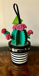 Pure K.S. Whimsy! Kate Spade Cactus In Flower Pot Wristlet Top Handle Bag $498  $489.99