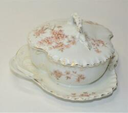 Antique Signed Rc Rosenthal Germany Pink Flowers 5 1/2h Covered Butter Dish