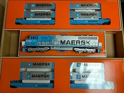 ✅lionel Maersk Sealand Sd70 Maxi Double Stack Train Set 6-21950 O Gauge Twin