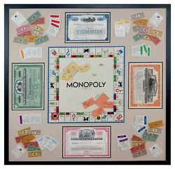 Framed Vintage Monopoly Game W/ Original Antique Stock Certificates Of Railroads