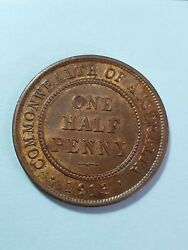 1913 Half Penny With Luster Aunc Scarce This Nice