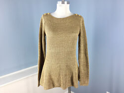 Exclusive M Gold Shimmer Peplum Flare Sweater Euc Career Cocktail
